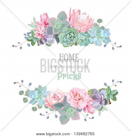 Green colorful succulents vector design round frame. Echeveria protea eucaliptus. Natural cactus card in modern funky style. All elements are isolated and editable.
