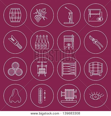 Set of winemaking and wine tasting icons in modern thin line style isolated on colored background. High quality outline symbol collection. Simple mono linear pictogram pack. Stroke vector logo concept