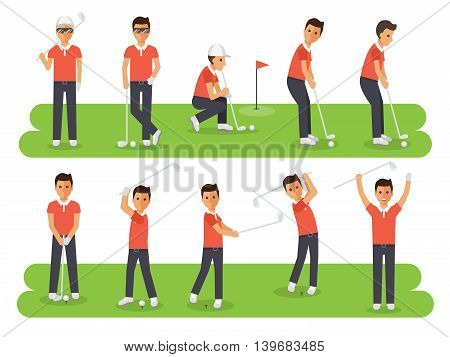 Golf sport athletes golf players playing teeing off and putting with golf club. Flat design people characters.