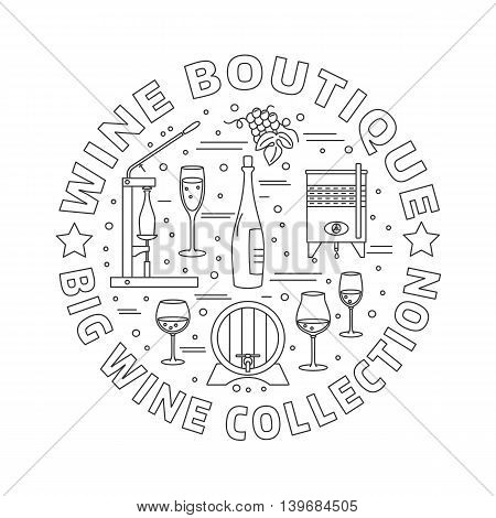 Winery icons arranged in circle composition isolated on white background. Winemaking wine tasting template for banner flyer t shirt book cover. Winery symbols in line style. Vector illustration.