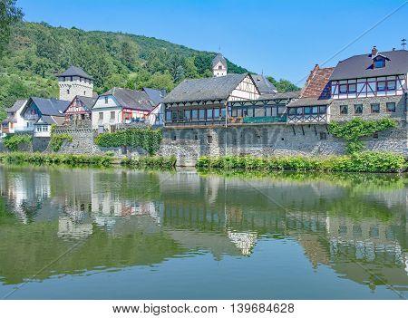 idyllic medieval Village of Dausenau at River Lahn in Westerwald,Rhineland-Palatinate,Germany poster