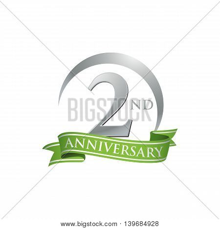 2nd anniversary green logo template. Creative design. Business success