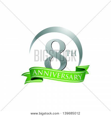 8th anniversary green logo template. Creative design. Business success