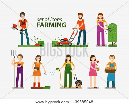 Farming, gardening, horticulture set of icons. People at work on the farm. Vector illustration