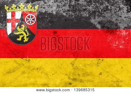 Flag Of Rhineland-palatinate, Germany, With A Vintage And Old Lo