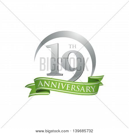 19th anniversary green logo template. Creative design. Business success