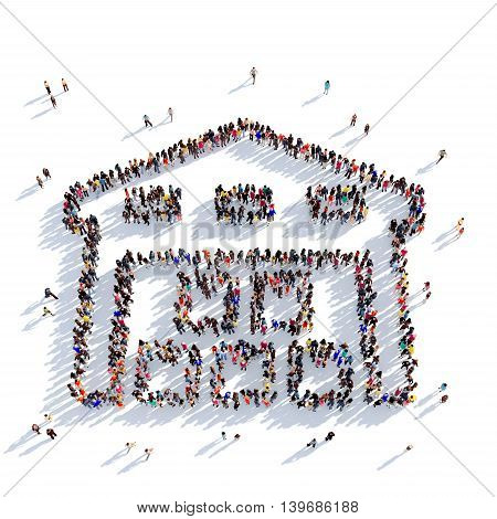 Large and creative group of people gathered together in the shape of warehouse premises, service. 3D illustration, isolated against a white background. 3D-rendering.