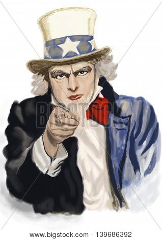 Uncle Sam. Digital painting . recruitment concept illustration.