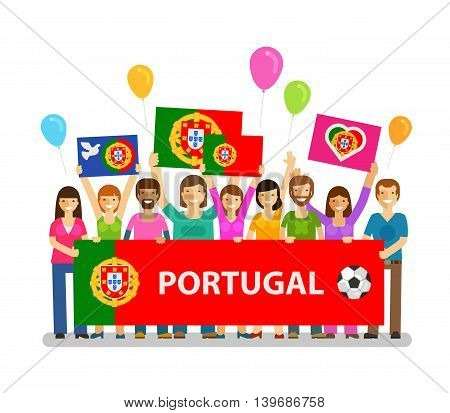 Soccer, championship, sport icon. Fans of Portugal on the podium. Vector illustration