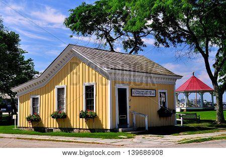 Mystic Connecticut- July 11 2015: Seamen's Friend Society building at Mystic Seaport *