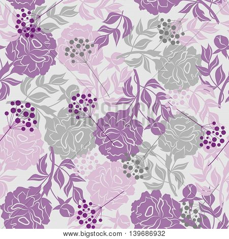 Beautiful seamless pattern with colored silhouettes of flowers and berries. Vector illustration.