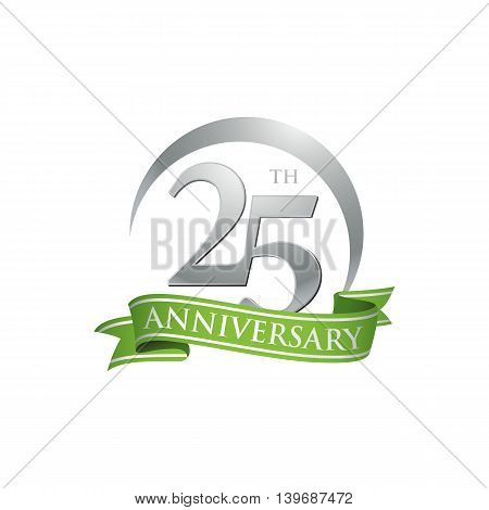 25th anniversary green logo template. Creative design. Business success
