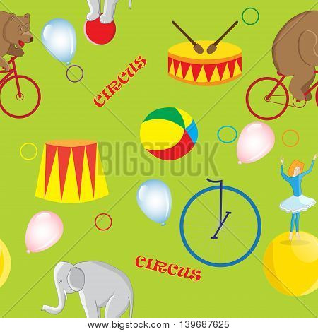 Seamless pattern on the theme of a circus bear on a red bike elephant on ball balloon girl and circus accessories