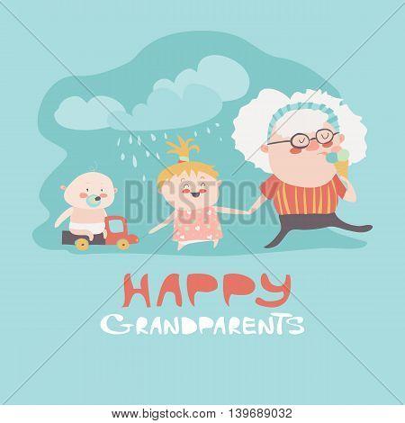 Happy grandmother with their grandchildren. Vector illustration