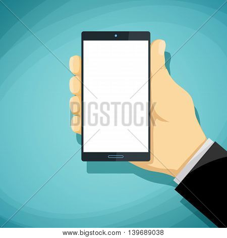 Man holds in his hand smartphone with a white screen. Stock Vector cartoon illustration.