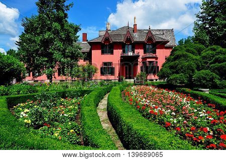 Woodstock Connecticut - July 14 2013: Henry C. Bowen House Roseland Cottage built in the gothic revival style in 1846 and formal gardens