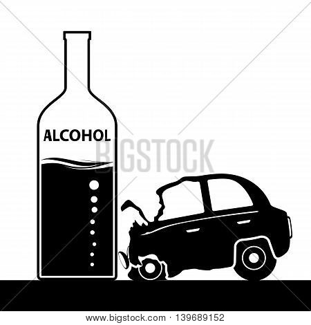 Bottle with alcohol a car accident. Drunkenness and driving. Stock vector illustration.