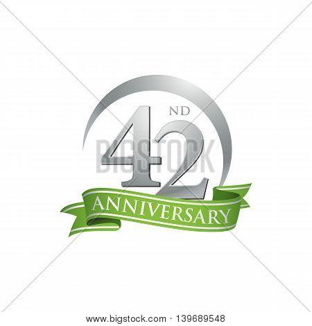 42nd anniversary green logo template. Creative design. Business success