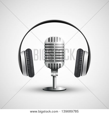 Icon headphones and a microphone. Stock vector realistic illustration.