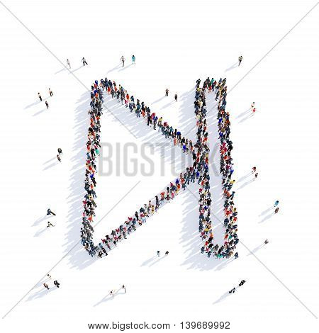 Large and creative group of people gathered together in the shape of the sign of music playback. 3D illustration, isolated against a white background. 3D-rendering.