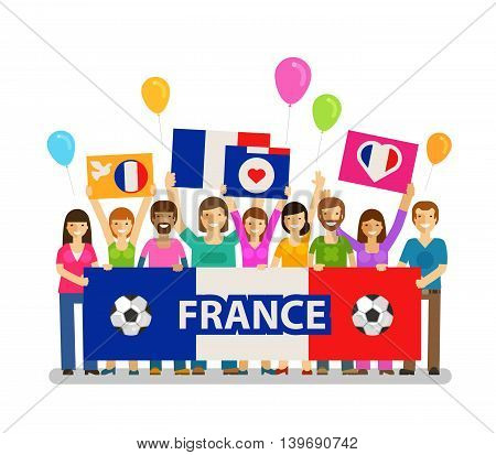 Soccer, championship, sport icon. Fans of France on the podium. Vector illustration
