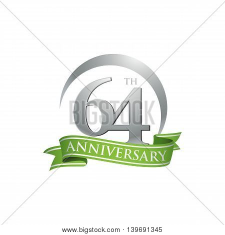 64th anniversary green logo template. Creative design. Business success