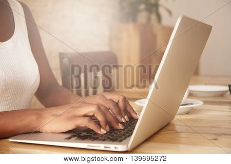 Selective Focus. Cropped Shot Of Black Woman's Hands Typing On Keyboard While Messaging Friends Via