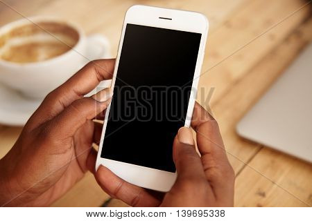 Close Up Of Black Woman's Hands Holding Smart Phone With Blank Copy Space For Your Advertising Conte