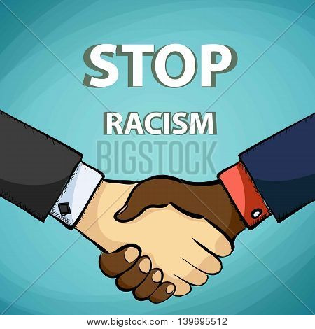 Handshake of the friends. Stop racism. Stock vector illustration.