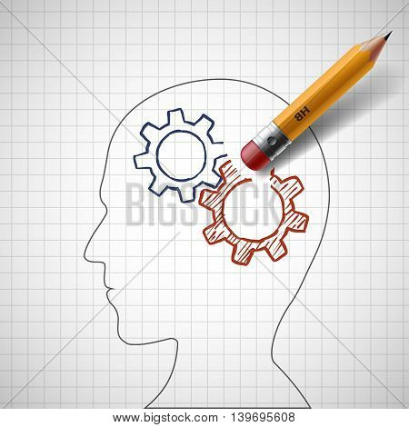 Pencil erases gears in human head. Stock vector illustration.