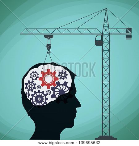 Construction crane with a gear and a human head. Stock vector illustration.