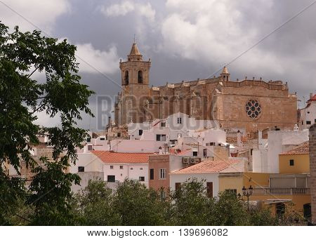 Panoramic view of the Cathedral in Ciutadella, Menorca