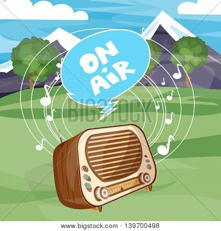 Retro old radio on air cartoon vector
