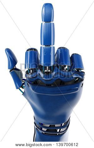 Hand of robot showing fuck you gesture. Isolated on white background. 3D illustration.