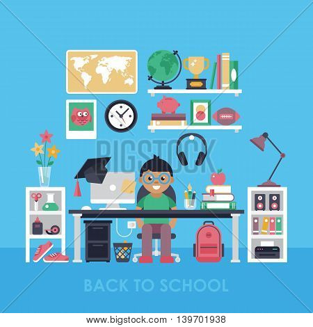 Back To School Concept With Workspace For Boy. Child Room Interior With Desk
