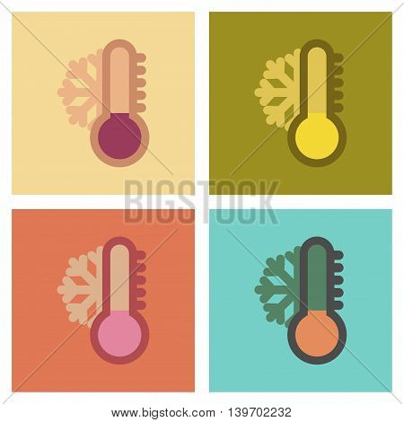assembly of flat icons nature thermometer cold weather