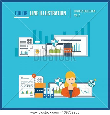 Concepts for business analysis, financial statement, consulting, teamwork, project management and development. Investment business. Financial strategy. Online education. Color line illustration