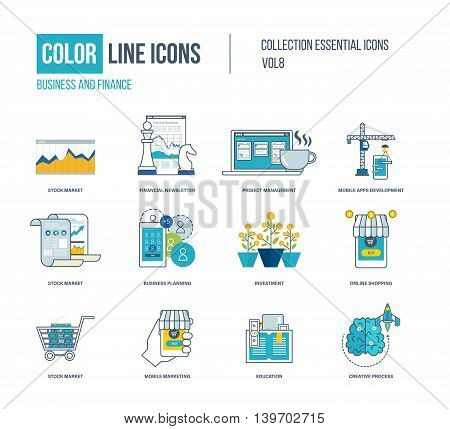 Color thin Line icons set. Stock market, financial newsletter, project management, mobile apps development, education, financial strategy, investment, mobile marketing. Colorful logo and pictograms