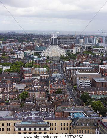 LIVERPOOL, ENGLAND, JULY 2. The Metropolitan Cathedral on July 2, 2016, in Liverpool, England. An aerial look at the Metropolitan Cathedral of Christ the KIng, a Liverpool landmark.