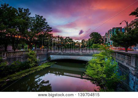 Sunset Over Commonwealth Avenue At Charlesgate Park, In Back Bay, Boston, Massachusetts.