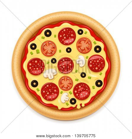 Vector detailed hot pizza with sticky melting cheese, tomato and salami icon