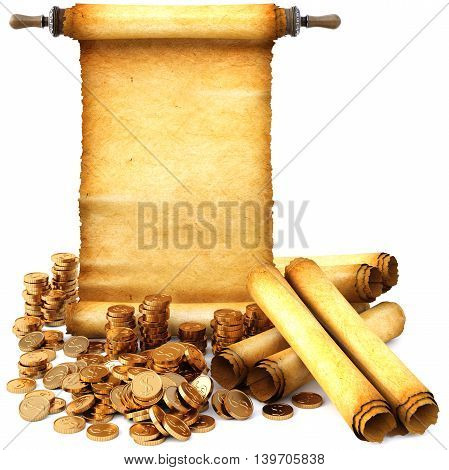 ancient scroll and a bunch of gold coins. Isolated on white background. 3D illustration.