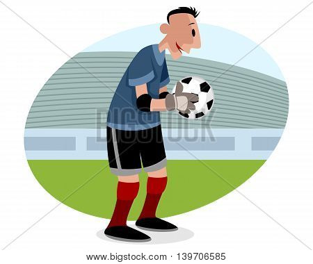 Vector illustration of a goalie with ball