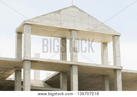 Unfinished House With A Monolithic Concrete Constructions