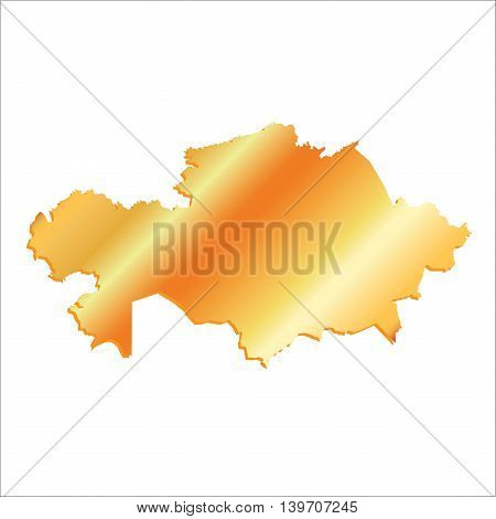 3D Vector Kazakhstan Gold Boundary With Shadow