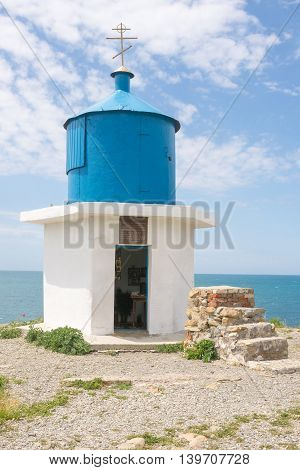 Big Utrish, Russia - May 17 2016: Chapel At The Monument-utrish Lighthouse On The Island, Built In 1