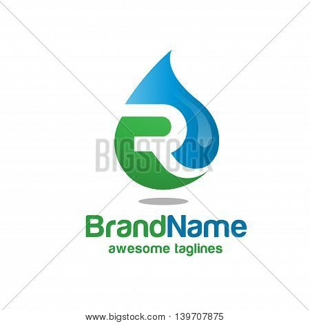 letter R with oil gas and energy concept
