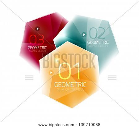 Hexagon abstract geometric background with shiny light effects. Vector info ui elements