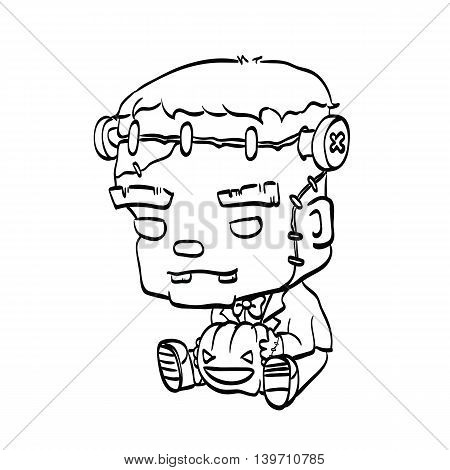 Vector Illustration Of Cute Cartoon Character Frankenstein With Jack O Lantern Outline For Coloring