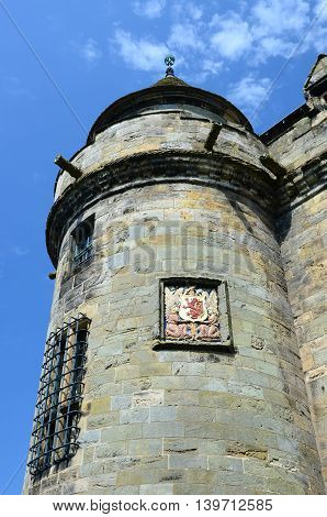 A view of the entrance turret at Falkland Palace